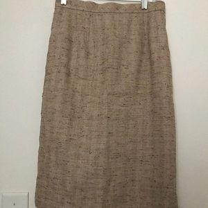Talbots tan wool pencil skirt